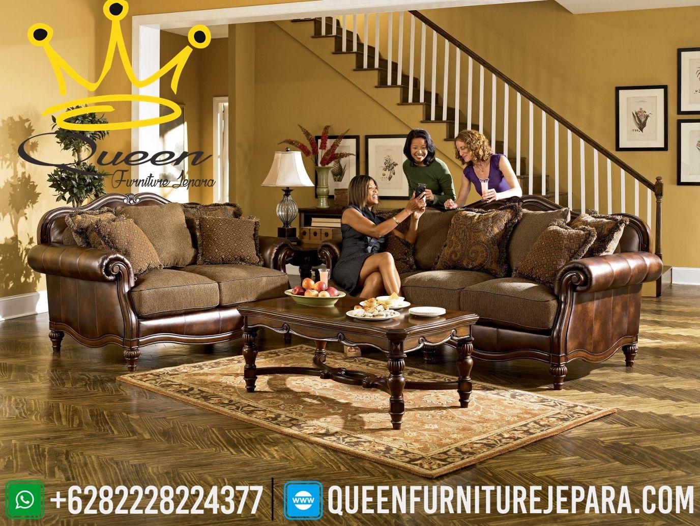 Kursi Sofa Kulit Asli Model Kursi Tamu Mewah Klasik Queen
