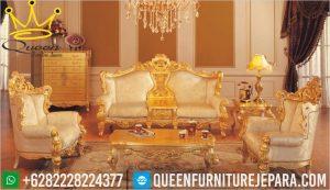 queen sofa tamu gold mewah klasik jepara terbaru