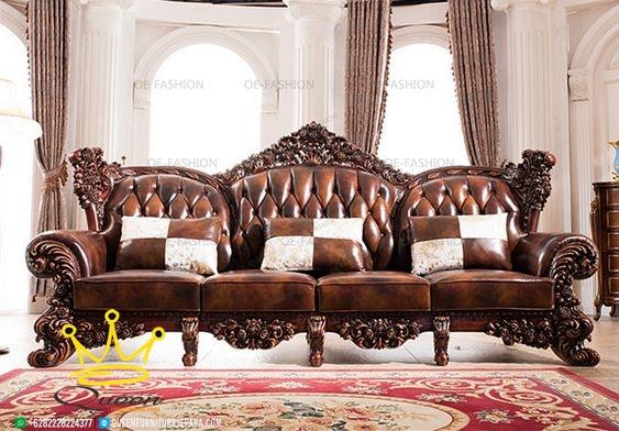 model sofa leather klasik kulit asli queen furniture terbaru adalah paduan antara seni ukiran kayu jati jepara dan kemewahan jok kulit asli