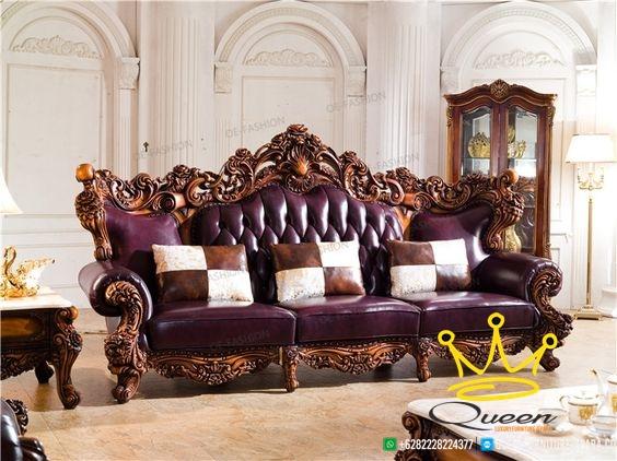 model sofa lether purple queen furniture terbaru adalah kursi sofa kayu jati dengan kulit jok kulit asli dengan warna yang mewah dan menarik