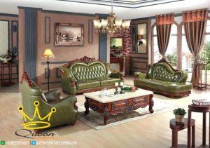 set kursi sofa tamu jati mewah kulit asli  queen furniture