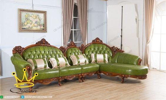 set sofa leather green queen furniture jepara adalah sofa dengan rangka kayu jati ukiran asli jepara yang di balut dengan kulit asli