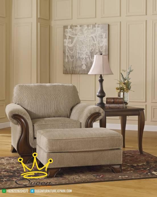 set sofa tamu jati klasik modern queen furniture jepara 1 dudukan