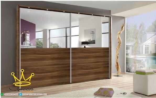 wardrob jati solid with mirror custom design queen furniture jepara