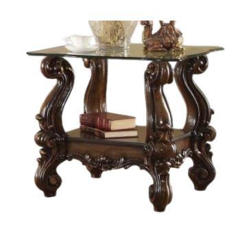 meja sudut top kaca jati klasik queen furniture jepara