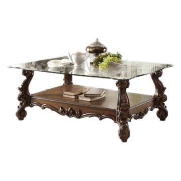meja utama top kaca jati klasik queen furniture jepara