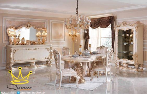 set meja makan mewah klasik queen furniture jepara